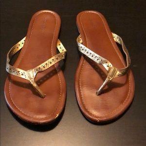 Brown Flip Flops, Gold Straps & Cutouts, Size 11